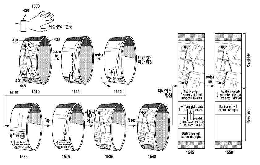 Samsung's brecelet type bendable device with flexible screen